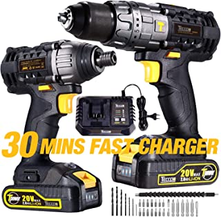 Impact Driver and Hammer Drill, 20V Combo Kits, 2X2.0Ah Li-Ion Batteries, 30-Min Quick Charger, 32pcs Accessories TECCPO