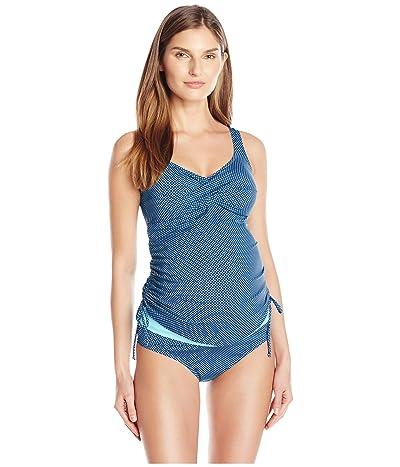 Prego Maternity Wear Dot Twist Tankini (Navy/Aqua) Women