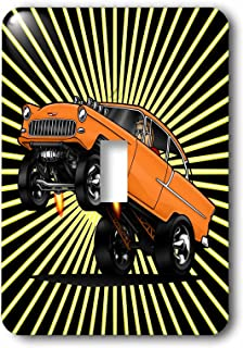 3dRose lsp_173474_1 55 Chev Image At The Drags, Off The Line Wheelie, Star Burst Background Light Switch Cover