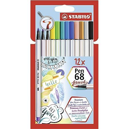 Pennarello Premium con punta a pennello per linee spesse e sottili - STABILO Pen 68 brush - Pack da 12 - con 12 colori assortiti