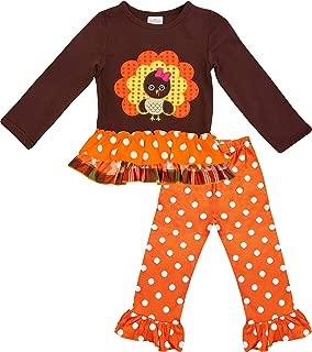 Boutique Baby Toddler Little Girls Turkey Outfit Set, Dress - Turkey Top Pants Set Or Skirt Set