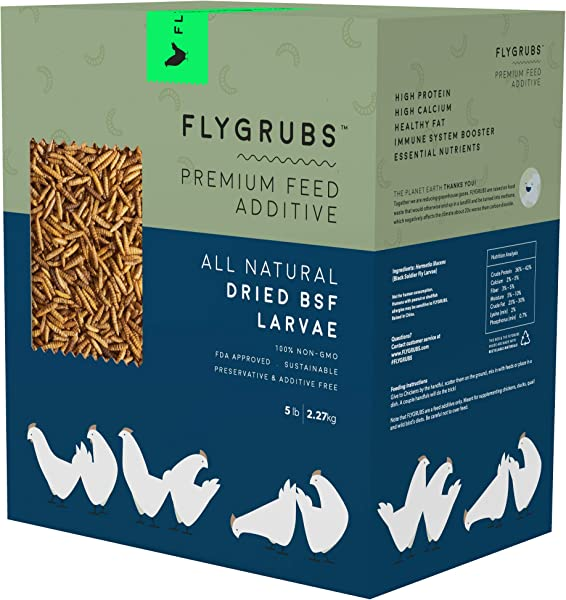 FLYGRUBS Superior To Dried Mealworms For Chickens 5 Lbs Non GMO 85X More Calcium Than Meal Worms Chicken Feed Molting Supplement FDA Approved BSF Larvae Treats For Hens Ducks Birds