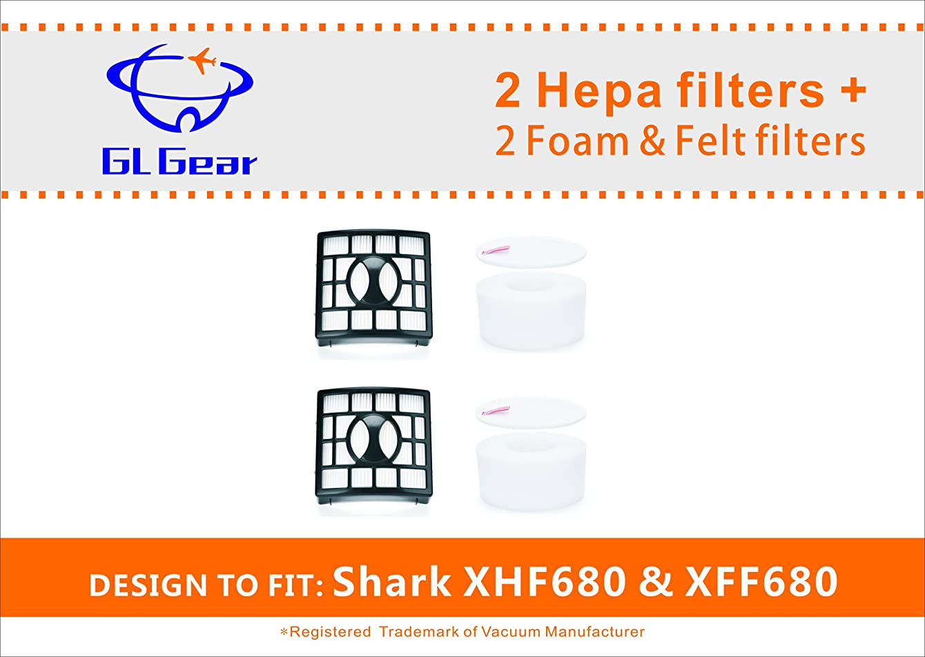 2 HEPA Filter and 2 Foam & Felt Filter for Shark Rotator Powered Lift-Away Speed & DuoClean Vacuum Cleaner NV680, NV681,NV682, NV683, NV800, NV800W, NV801,UV810.Replaces Part # XFF680 & XHF680