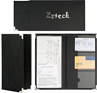 Zzteck Car Registration Card Holder and Insurance - for Auto Truck Glove Box Console Documents Organizer Premium PU Black Leather Wallet Case