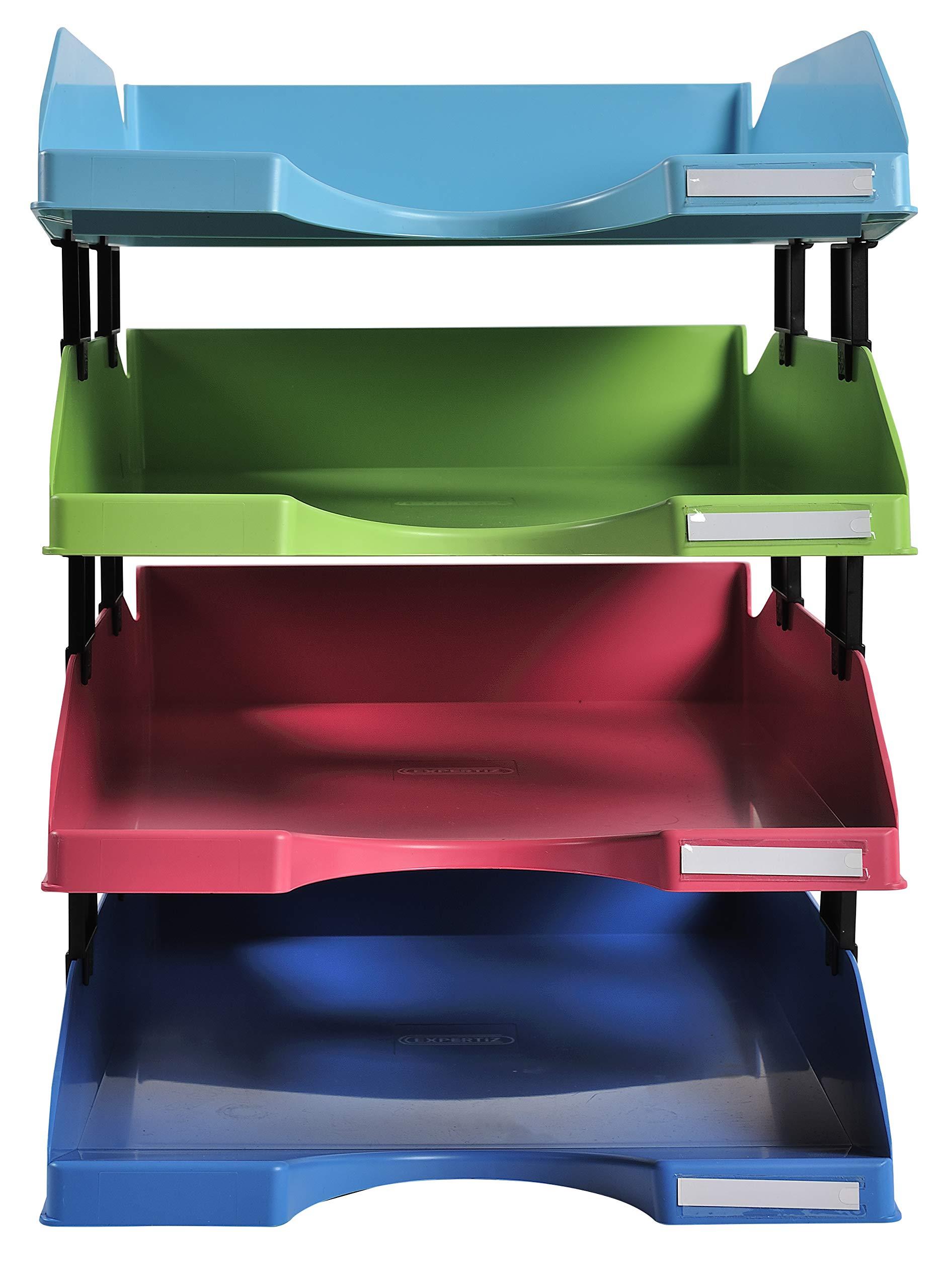 Exacompta 113299SETD Set mit 4 Briefablagen Combo Mini Linicolor 12 Distanzst/ücke farbig sortiert 1 Set DIN A4+