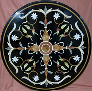 36 Inches Black Round Marble Sofa Table Top Inlaid Work, Heritage Crafts from India