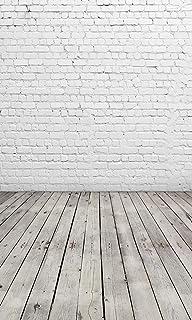 D 2504 Fotohintergrund mit weißem Ziegelmauer und grauem Holzboden, Vinyl, für Bilder