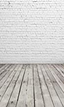 6'x10' White Brick Wall with Gray Wooden Floor Photography Backdrop Vinyl Background for Pictures D-2504