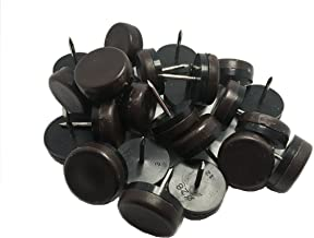 """1-1/8"""" Dia Heavy Duty Plastic Nail-on Slider Glide Pads for Chairs, Stools, Tables-Brown 24pcs"""