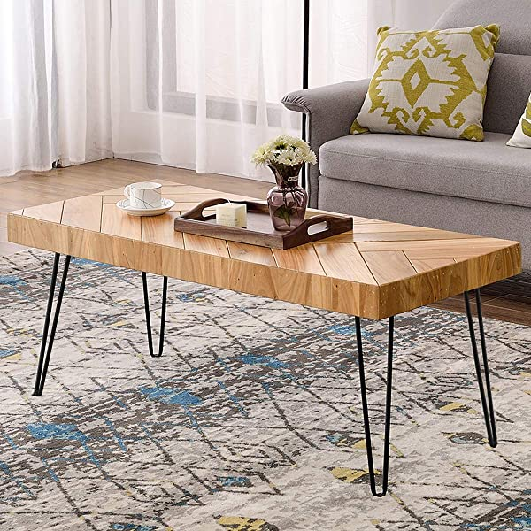 P PURLOVE Modern Wood Coffee Table Easy Assembly Coffee Table For Living Room W Chevron Pattern Metal Hairpin Legs Glossy Finished Rectangular Side Table