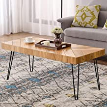 P PURLOVE Modern Wood Coffee Table, Easy Assembly Coffee Table for Living Room w/Chevron Pattern & Metal Hairpin Legs, Glossy Finished Rectangular Side Table