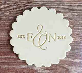 Custom Wedding Cookie Stamp or Fondant Embosser with Your Initials great for Wedding, Engagement or Anniversary cookies