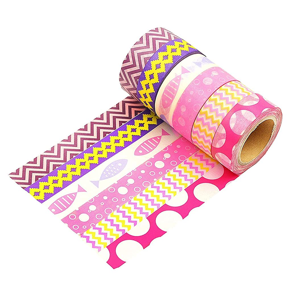 Wise Bird Pink Purple Washi Tape Fun Gift Wrap Decorative Fun Colored Washi Tape Sticky Paper Masking Adhesive DIY Tape, Office Class School Birthday Scrapbook Craft Tape, 32ft/roll, Set of 6 -W08