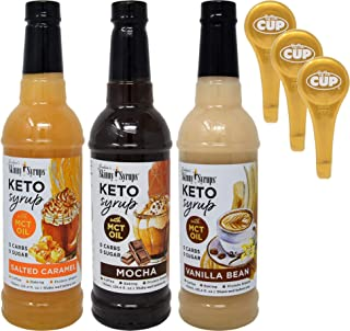 Jordan's Skinny Syrups Keto Vanilla Bean, Salted Caramel, and Mocha with MCT Oil 750 ml Bottles (Pack of 3) and 3 By The C...
