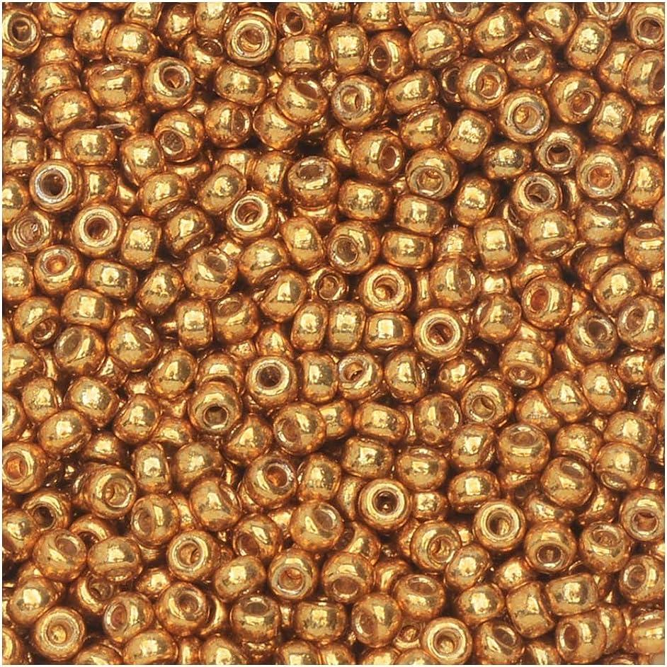Duracoat Galvanized Yellow Gold Miyuki Japanese round rocailles glass seed beads 11/0 Approximately 24 gram 5 inch tube