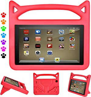 All New Kids Case for 2019 7 inch Tablet - Auorld Kid-Proof Handle Protective Cover with Built-in Stand for 7 inch Display Tablet (Compatible with 2015&2017&2019 Release) (Red)