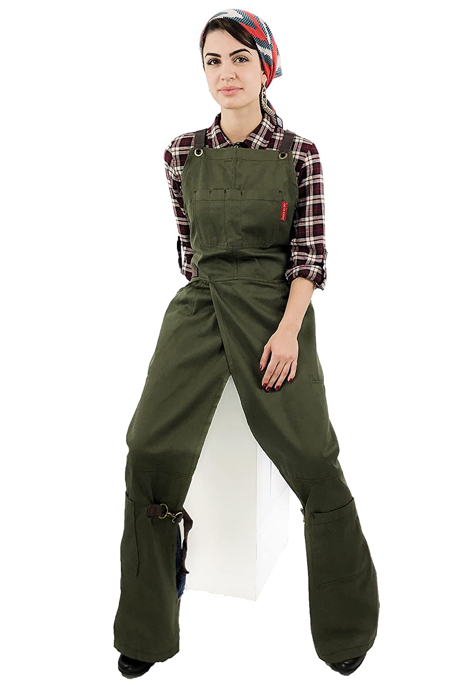 Under NY Sky Pottery Moss Green Apron – Full Coverage Cross-Back, Durable Twill, Leather Reinforcement and Overlapping Split-Leg, Adjustable for Men and Women – Pottery Artist, Mechanic, Tattoo Apron