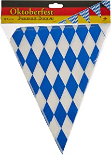 Beistle 50970 Oktoberfest Bavarian Flag Pennant Banner 11 Inches by 12 Feet