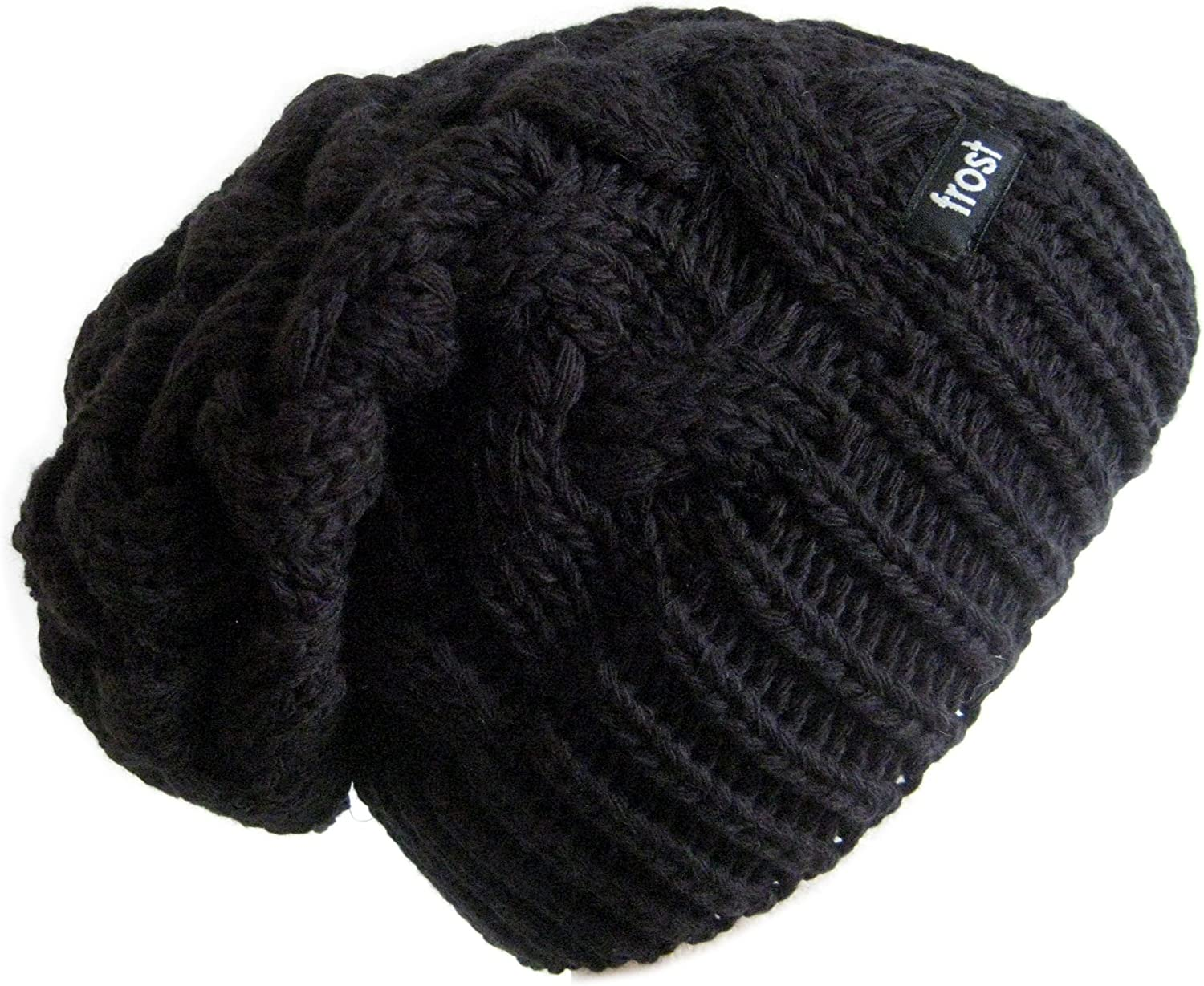 Frost Hats Winter Hat for Women Slouchy Beanie Cable Hat (Black)