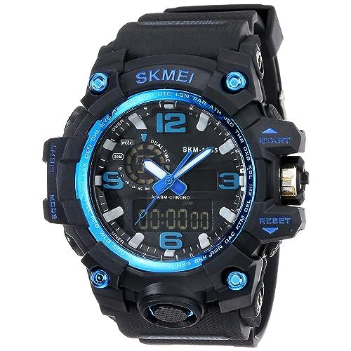 Skmei Analog-Digital Black Dial Men's Watch - 1155-Blue