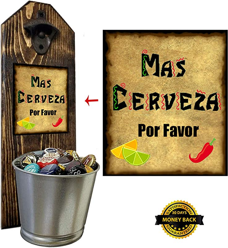 Mas Cerveza Wall Mounted Bottle Opener And Cap Catcher Handcrafted By A Vet 100 Solid Pine 3 4 Inch Thick Rustic Cast Iron Bottle Opener And Galvanized Bucket To Empty Twist The Bucket