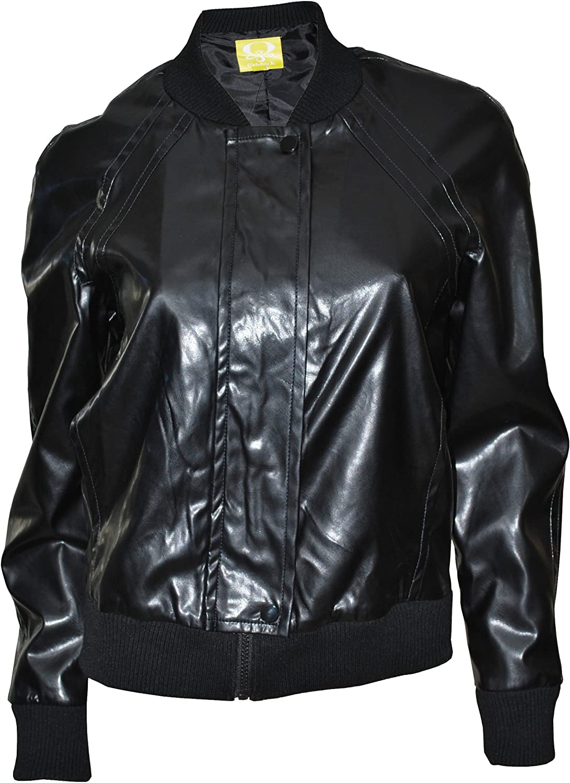 Qmack Women's Jacket, Zip Up Faux Leather Bomber Jacket (Black)