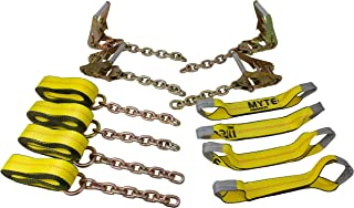 Mytee Products Roll Back Tie Down System Chain Ends 8 Point for Car Hauler Carrier Tow Truck