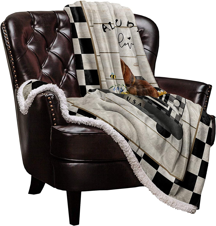 Price reduction Sherpa Fleece Throw Blanket Vintage Warm Dealing full price reduction Blankets Dog Farm Soft