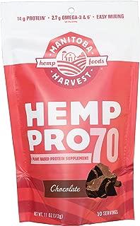 Manitoba Harvest Hemp Pro 70 Protein Powder, Chocolate, 11oz; with 14g protein per Serving, Non-GMO