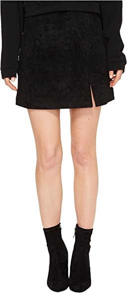 Suede Mini Skirt in Black/Seal The Deal