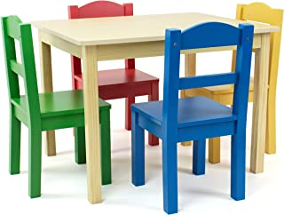 Tot Tutors Collection Kids Wood Table & 4 Chair Set, Natural/Primary