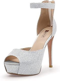 IDIFU Women's IN5 Iris Platform High Heels Peep Toe Stiletto Dress Pump Heeled Sandals