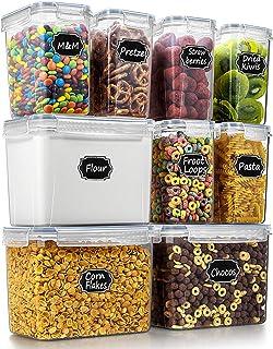 Wildone Lot de 9 boîtes de conservation hermétiques pour aliments secs et céréales avec couvercle gris et 20 étiquettes en...