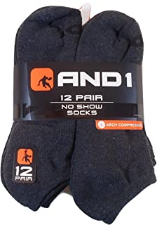 12 PAIRS AND1 Grey NO SHOW Ankle Socks Mens Size 6-12.5 And 1 Gray Arch Compression