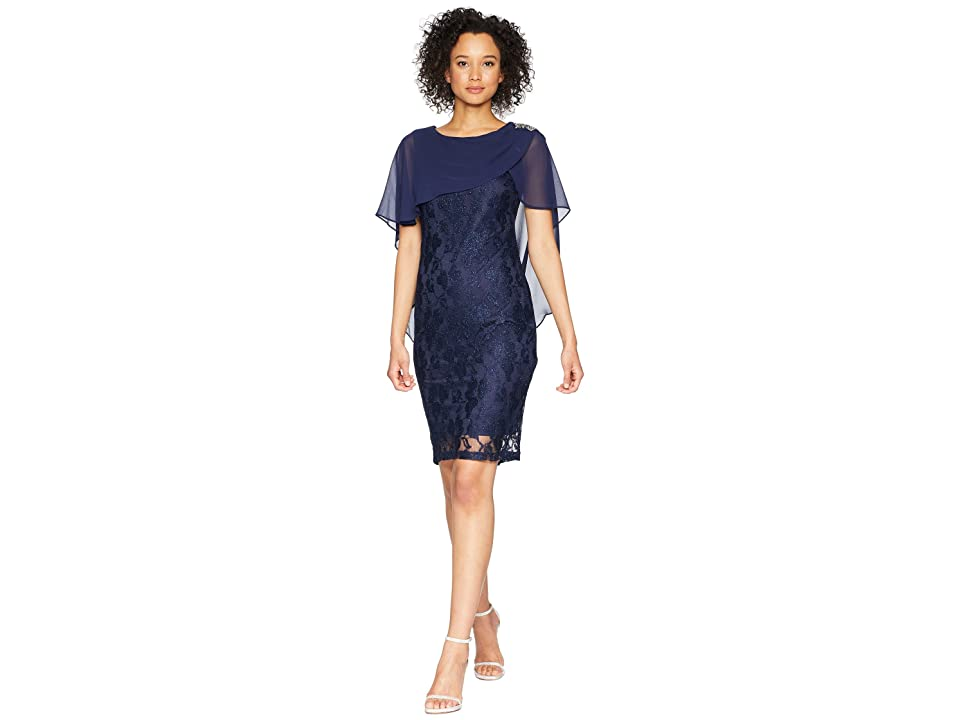 Sangria Capelet Lace Dress (Navy) Women