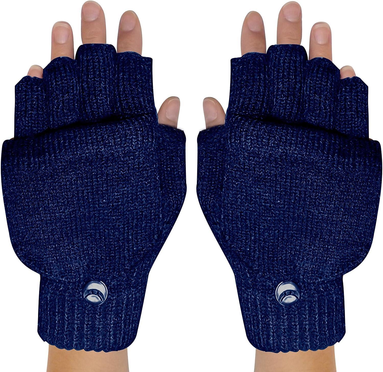 Peach Couture Winter Soft Knit Fingerless Funtional Flap Mitten Gloves