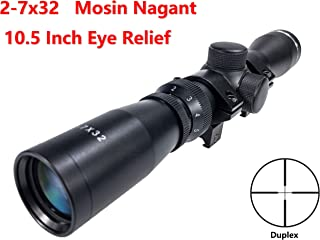 Viiko Long Eye Relief Scope 2-7x32 Duplex Reticle Fits Mosin 1891/30 M39 LER Scope with Picatinny 1913 Ring Mounts