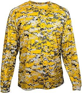 Badger mens Long Sleeve Sublimated Tee-4184-Gold Digital BD4184