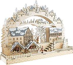 Clever Creations - Calendario de Adviento - Madera y Luces LED - Funciona con Pilas - Decoración Tradicional con Forma de Pueblo en Navidad - 05 - Pueblo