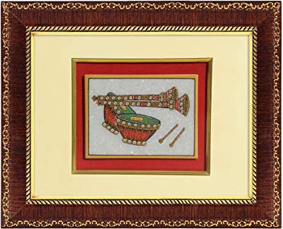 Handicrafts Paradise Marble Wall Decor Tabla and Shehnai Painting Framed Hpmr 15024
