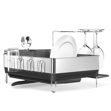 simplehuman Steel Frame Kitchen Drying Swivel Spout Dish Rack, Full-Size, Grey