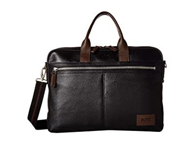 Solo New York Shorewood Leather Briefcase (Black/Brown Accent) Briefcase Bags