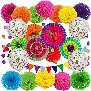 تزیینات مهمانی DECORAUSBOX Fiesta ، 29 قطعه تزیینات مهمانی مکزیکی با پنکه های کاغذی ، بادکنک های کنفی ، آگهی تبلیغاتی ، گل های کاغذی برای جشن های تولد ، تاکو ، فیستا یا سینکو دی مایو