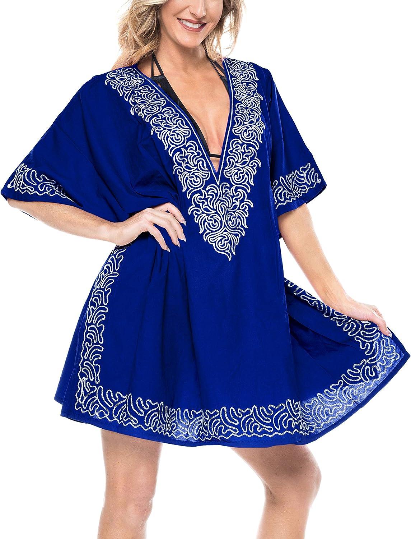 LA LEELA Women's Embroidered Swimsuit Coverups Bikini Beachwear Summer Dress Y