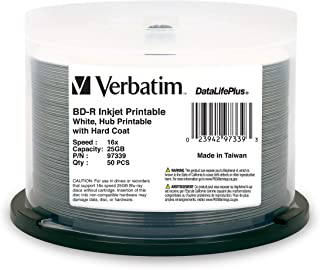 Verbatim BD-R 25GB 6X DataLifePlus White Inkjet Printable, Hub Printable - 50pk Spindle (Renewed)