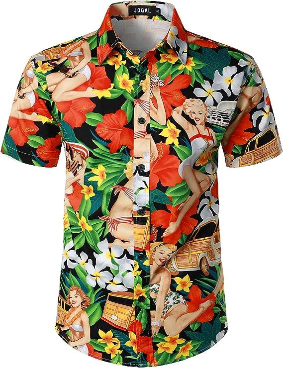 1950s Men's Clothing JOGAL Mens Beach Aloha Casual Button Down Short Sleeve Hawaiian Shirt  AT vintagedancer.com