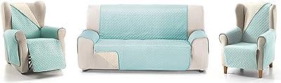 Cardenal Textil Rubí - Copridivano bicolore reversibile, colore: acquamarina/ecrù, 2 posti