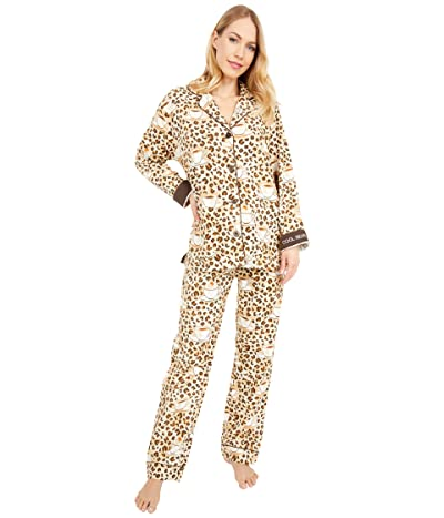 P.J. Salvage Cool Beans Flannel Pajama Set (Taupe) Women