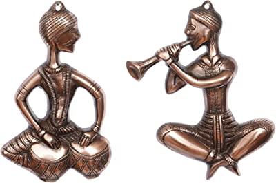 eCraftIndia Set of 2 Musicians Brown Color Metal Wall Hanging, one Size, ABAB506_CP