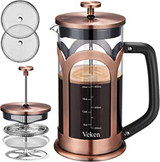 Veken French Press Coffee & Tea Maker, 304 Stainless Steel Heat Resistant Borosilicate Glass Coffee Press with 4 Filter Sc...